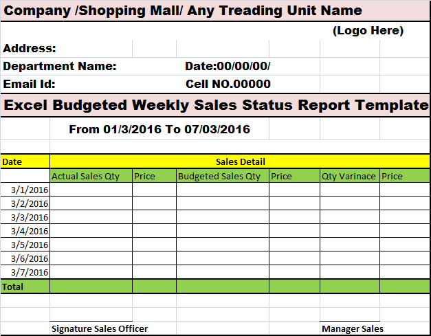 Sales Report Template – Excel Word Templates