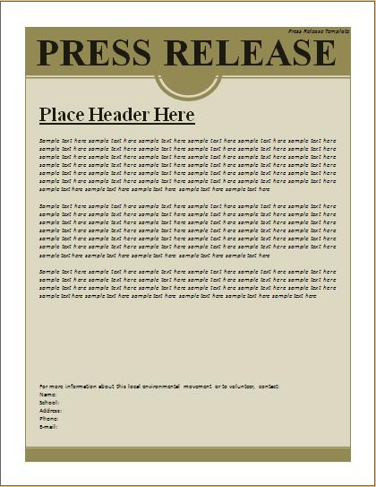 microsoft press release template