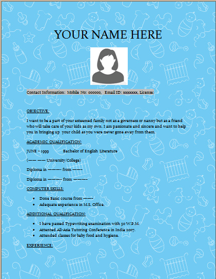 Child Minder Resume Template