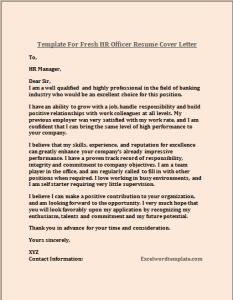 Fresh HR Officer Resume Cover Letter Template