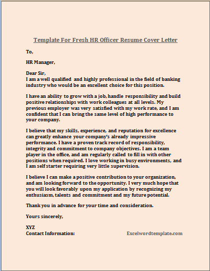 Fresh HR Officer Resume Cover Letter Template