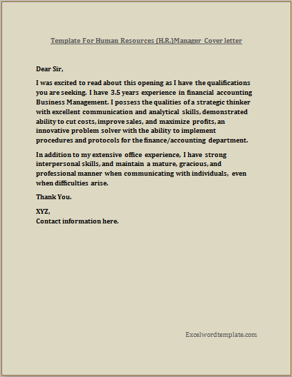 HR Manager Resume Cover Letter Template