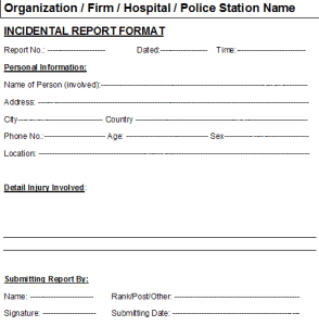 Free Excel Car Incident Report Format