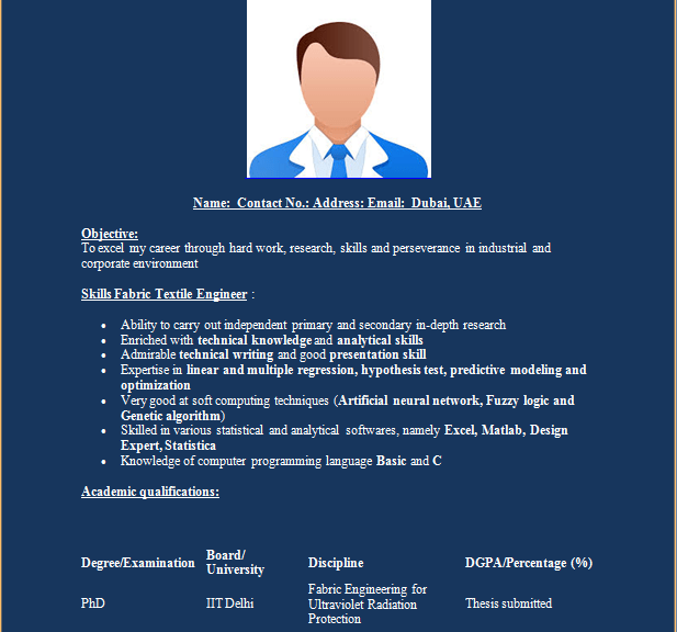 Textile Engineer Resume Template