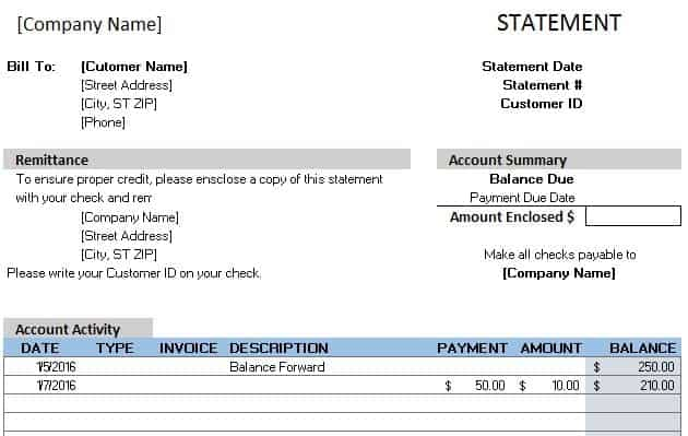 monthly billing statement template