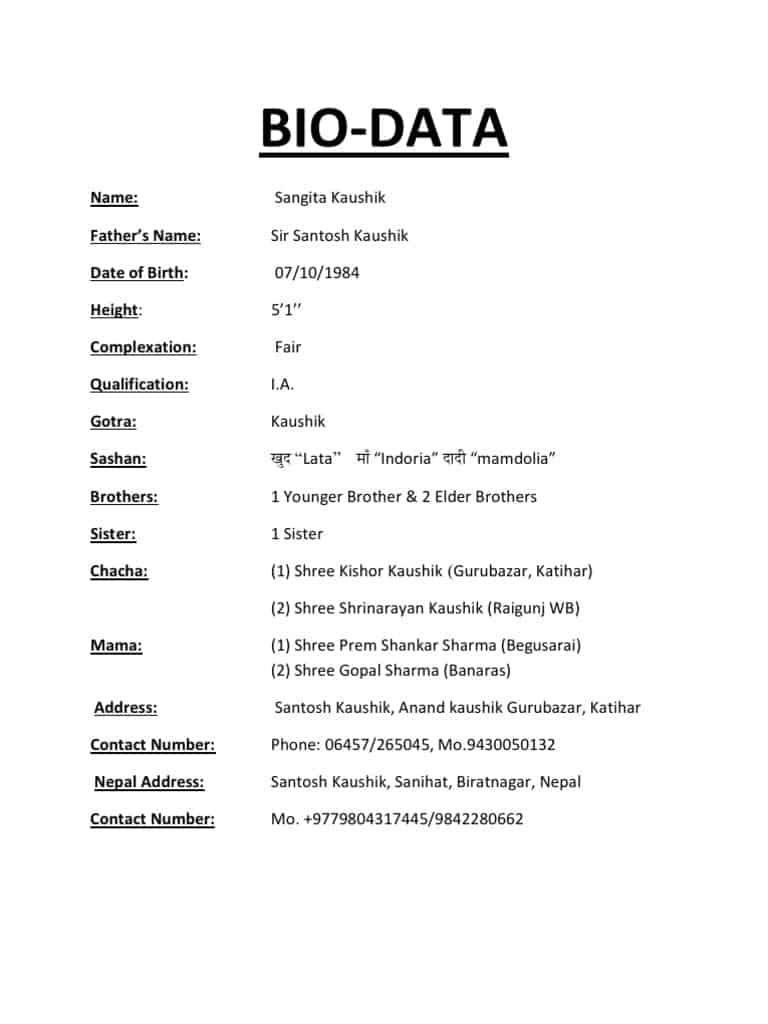 marriage biodata format in word doc