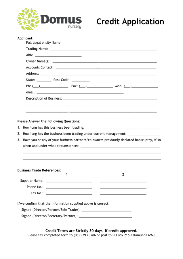 6 credit application forms � word templates