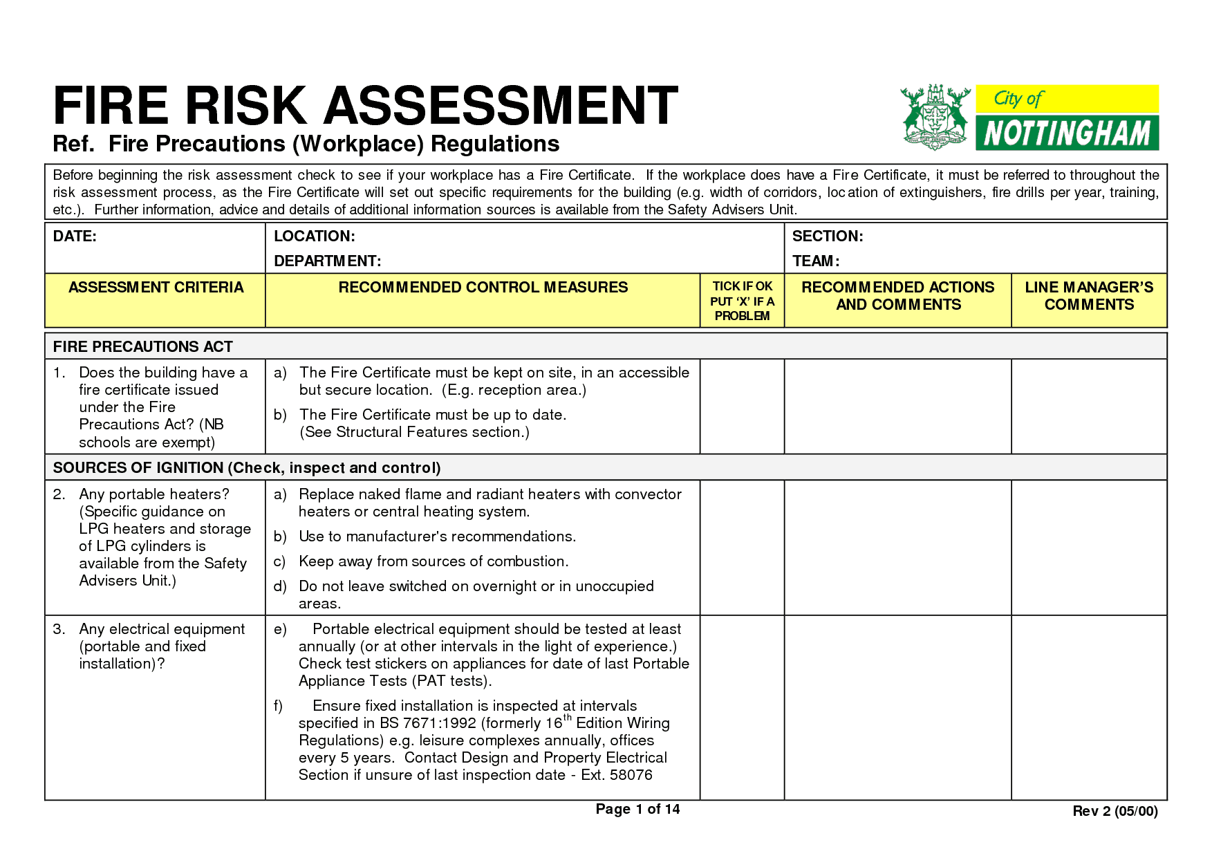 Fire Risk Assessment Form Sample. Fire Risk Assessment Form101