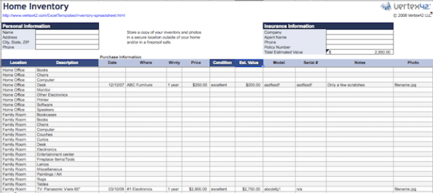 home contents inventory list template202