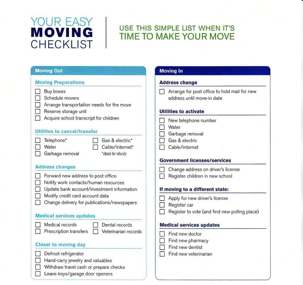 Moving Checklist Templates Word Templates