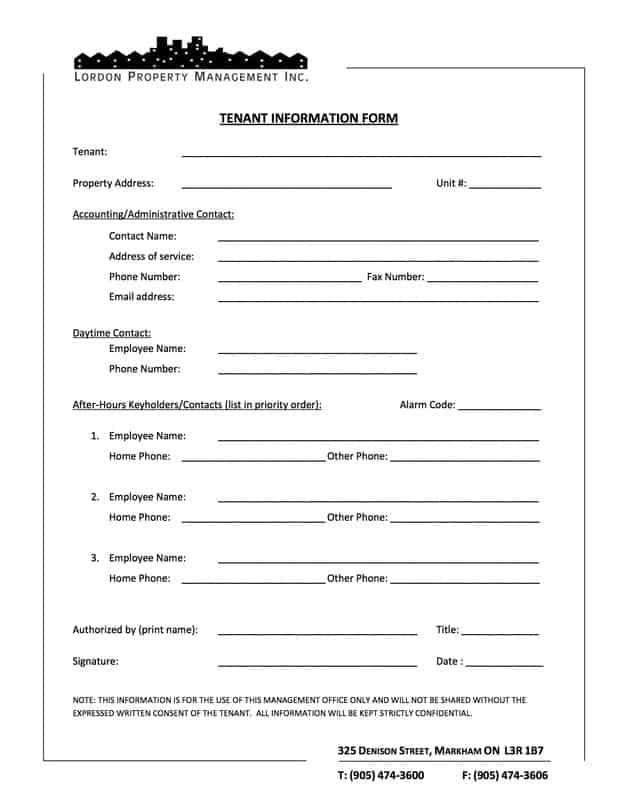 Tenant Verification Forms  Word Templates