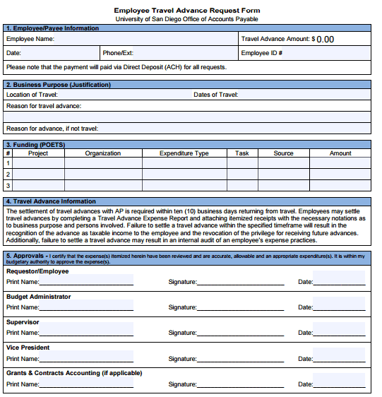 5 travel advance request forms � word templates