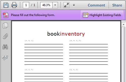 excel book inventory template