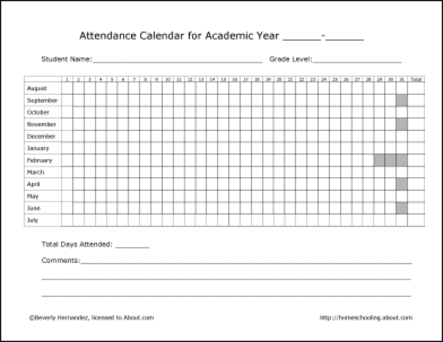 Lovely Attendance Record Template  Attendance Record Template