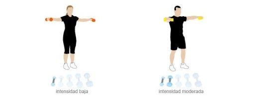 Elevación lateral de brazos con mancuernas