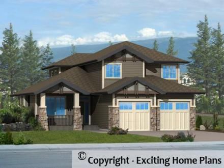 Modern House  Garage   Dream Cottage Blueprints by Exciting Home Plans Angelina I   Exterior View of House