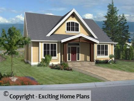 Modern House  Garage   Dream Cottage Blueprints by Exciting Home Plans Morraine   Front 3D View