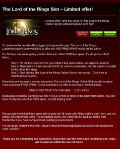 Ladbrokes Lord of the Rings Slots