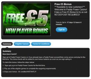 Paddypower Casino Offer