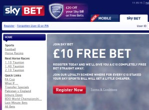 £10 Risk Free Bet at Skybet