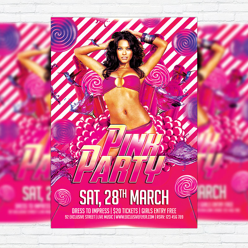 Pink Party Premium Flyer Template Facebook Cover