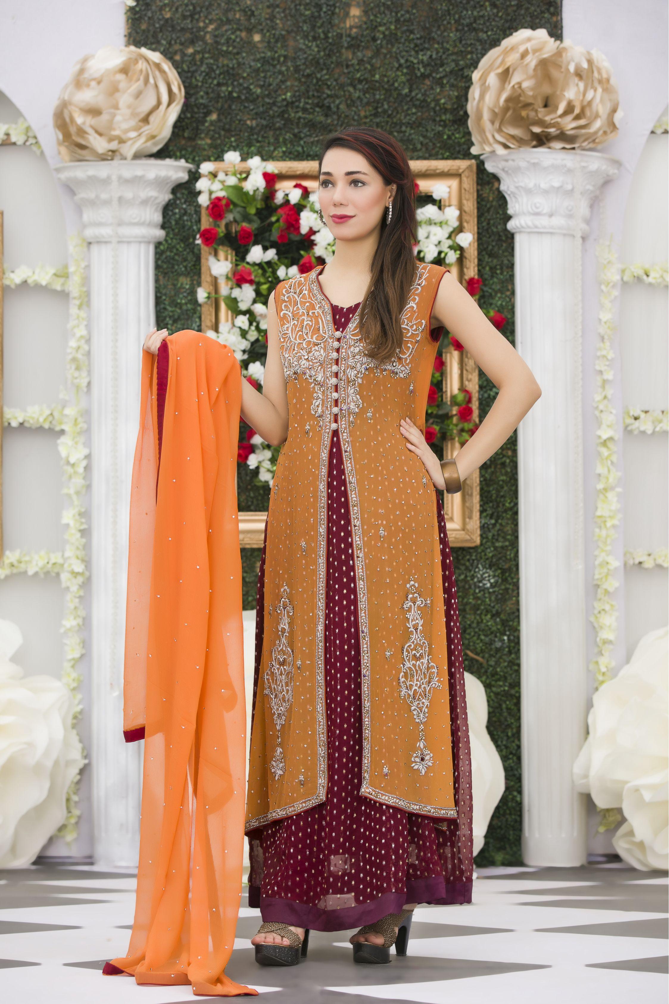 EXCLUSIVE ORANGE MAROON MEHNDI DRESS Exclusive Online