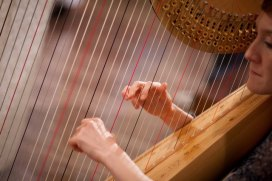 Harpist playing during ceremony