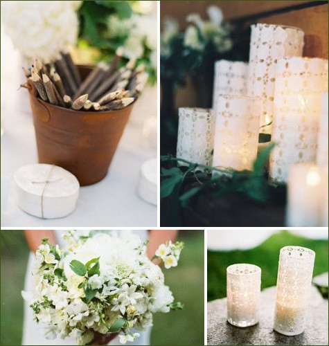 Lace votives for a shabby chic wedding