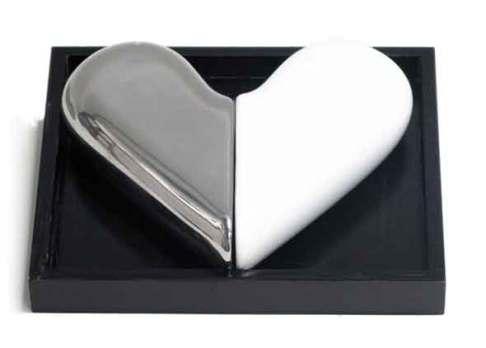 Ceramic heart - salt & pepper