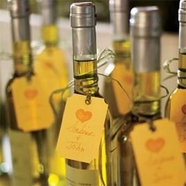 Olive oil bottles wedding favors