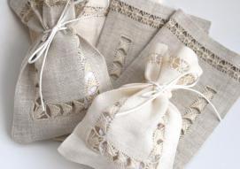 Handmade linen bags with almonds