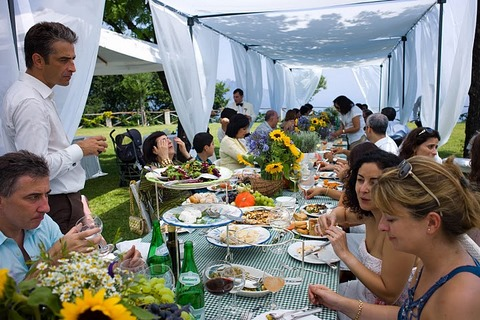 Informal outdoor wedding banquet