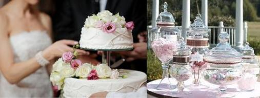 Multi tiered wedding cake + dessert table
