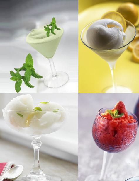 Mint, lemon or fruit sorbet for Italian wedding menu