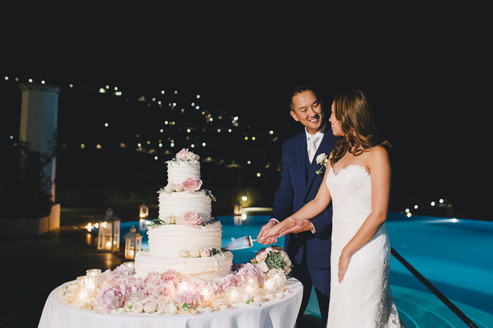 Cake Cutting at Ravello Wedding