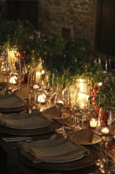 Rustic table with decors of basil and tomatoes! Viva L'Italia!