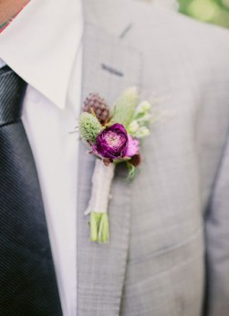 radiant orchid boutonniere