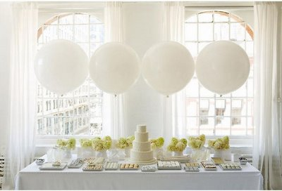 White balloons for dessert table