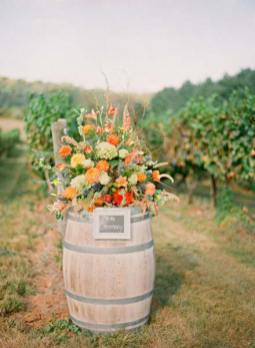 Wooden barrel with rustic flower decoration