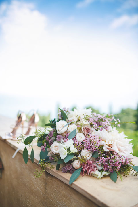 Bridal bouquet in white, purple and green