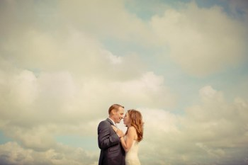 Bridal couple on the Mediterranean beach