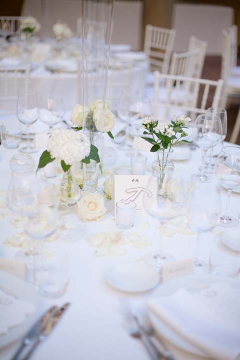 Table decoration for wedding reception in Tuscany