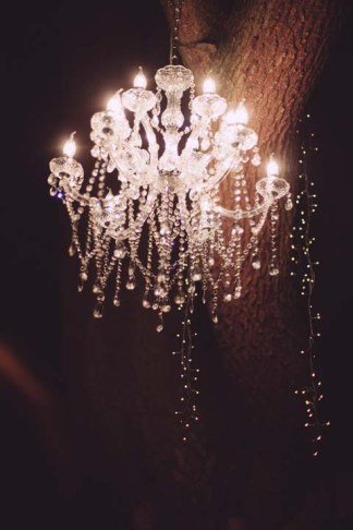 Glass chandelier for outdoor wedding reception