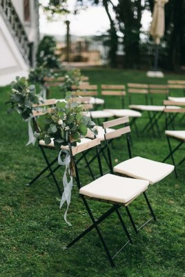 Ceremony setting for outdoor wedding in Tuscany