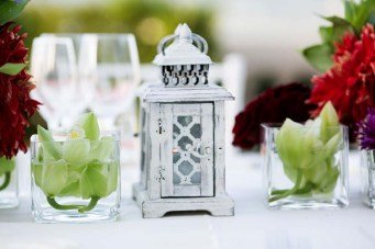 Wedding decoration with small white lanterns