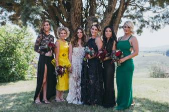 Bride and bridesmaids in the Tuscan countryside