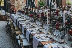 Candles and decorations for wedding banquet in Tuscany