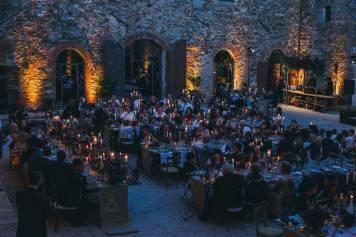 Candlelit wedding banquet at Castle Modanella
