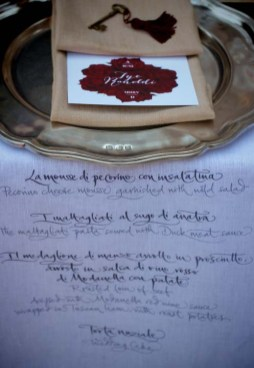Personalized tablecloths for Tuscany wedding