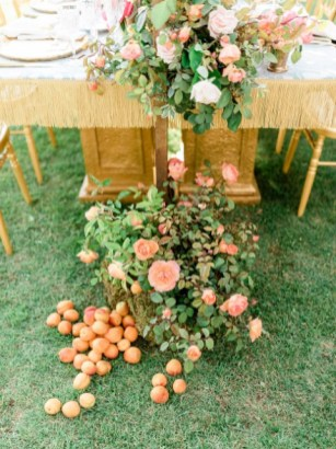 Flowers and apricots for the wedding table